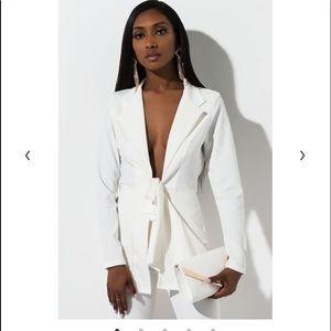 Now white tie front blazer